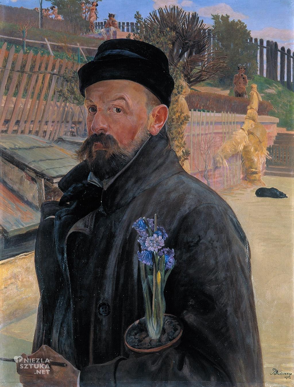 Jacek Malczewski, Autoportret z hiacyntem, sztuka polska, symbolizm, Niezła sztuka