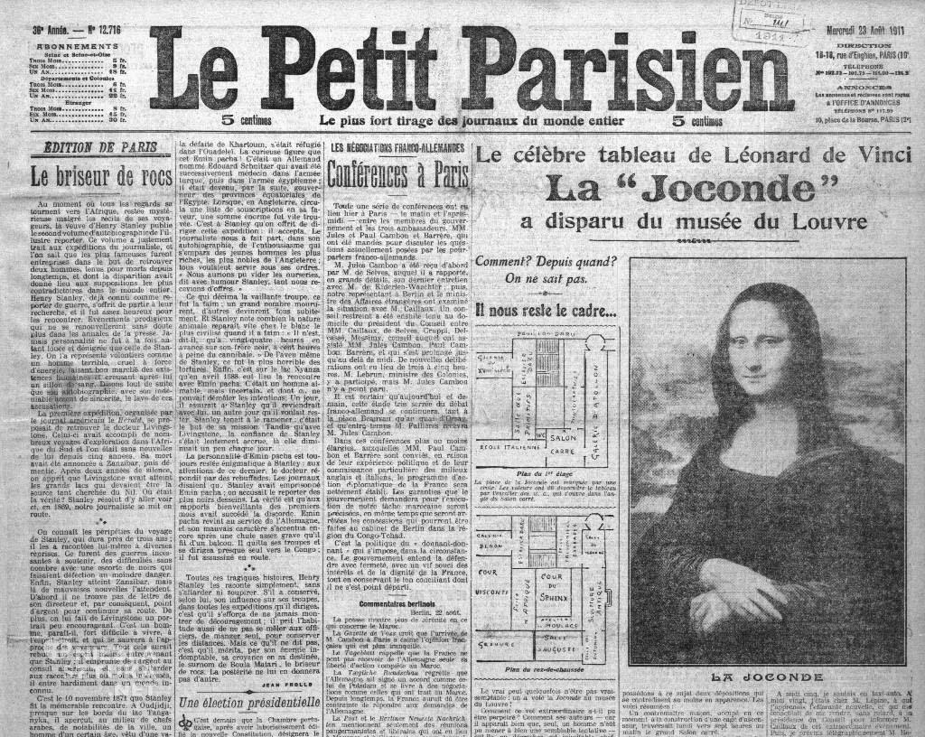 Kradzież obrazu trafiła na pierwsze strony wszystkich paryskich gazet