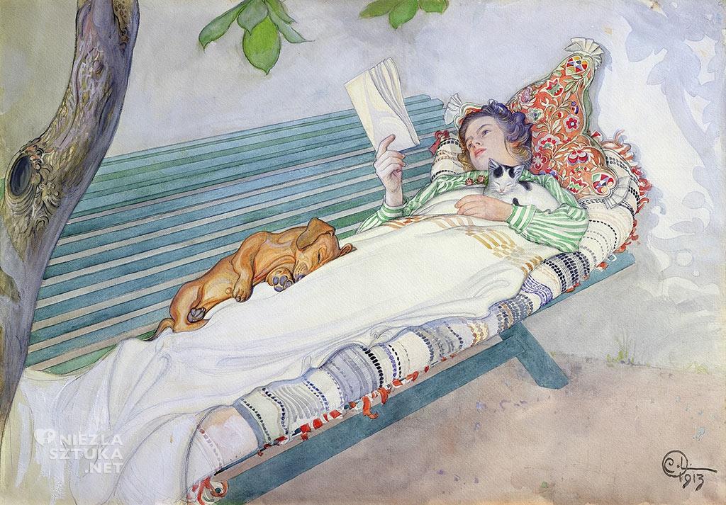 Carl Larsson, Kobieta leżąca na ławce