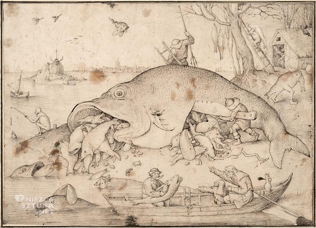 Pieter Bruegel Starszy, Duże ryby zjadają małe, rysunek, Niezła sztuka