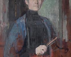 Olga Boznańska, Autoportret z pędzlem i kwiatami, sztuka polska, malarstwo polskie, Niezła sztuka