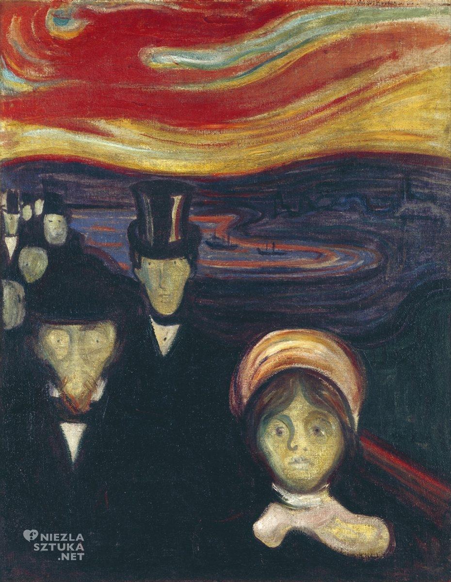 Edvard Munch, Trwoga, 1894; olej na płótnie, 94 x 73 cm. Munch-museet, Oslo.