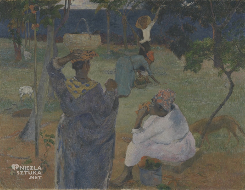 Paul Gauguin, Pośród drzew mango, zbieranie owoców, egzotyka, Tahiti, Niezła Sztuka