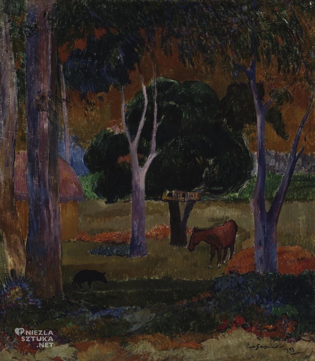 Paul Gauguin, Krajobraz ze świnią i koniem, Hiva Oa, Tahiti, Niezła Sztuka