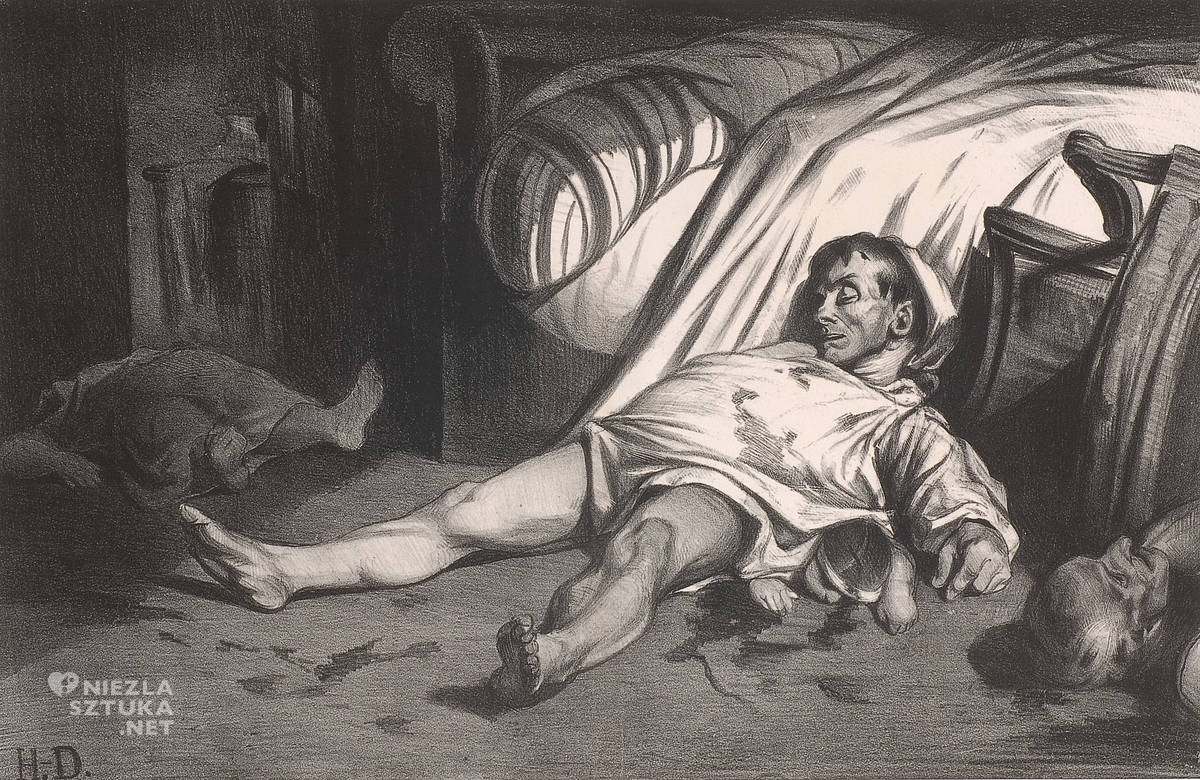 Honoré Daumier, Masakra na ulicy Transonain, 15 kwietnia 1834, grafika, realizm, Francja,