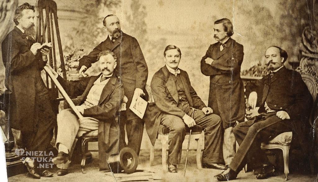 (od lewej stoją) Wojciech Gerson, Józef Simmler, Marcin Olszyński, (od lewej siedzą) niezidentyfikowany mężczyzna, Franciszek Kostrzewski i Juliusz Kossak | 1858-60, fot. Polona