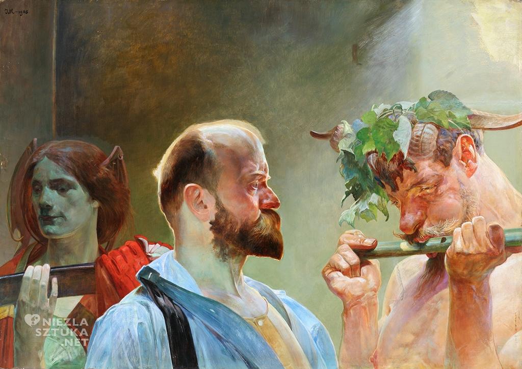Jacek Malczewski Prawo. (Między życiem a śmiercią), Tryptyk Prawo – Ojczyzna – Sztuka | 1903. Olej na desce. 69,5 × 98 cm. Muzeum Narodowe, Wrocław.