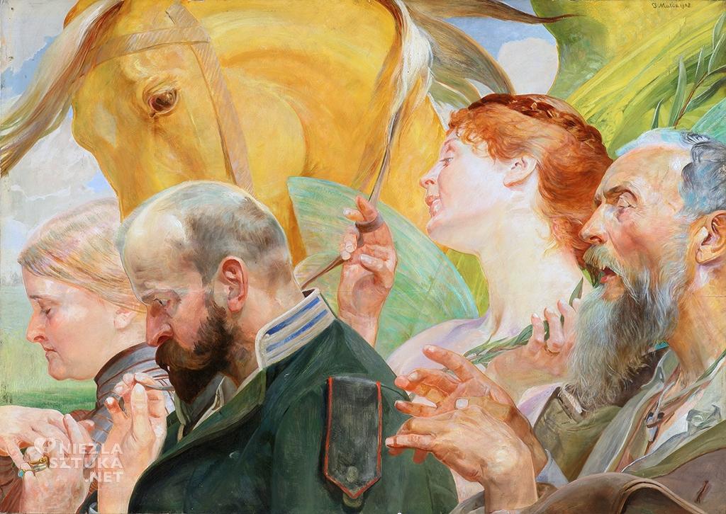 Jacek Malczewski Sztuka. (Fantazja), Tryptyk Prawo – Ojczyzna – Sztuka, 1903. Olej na desce. 69,5 × 98 cm. Muzeum Narodowe, Wrocław.