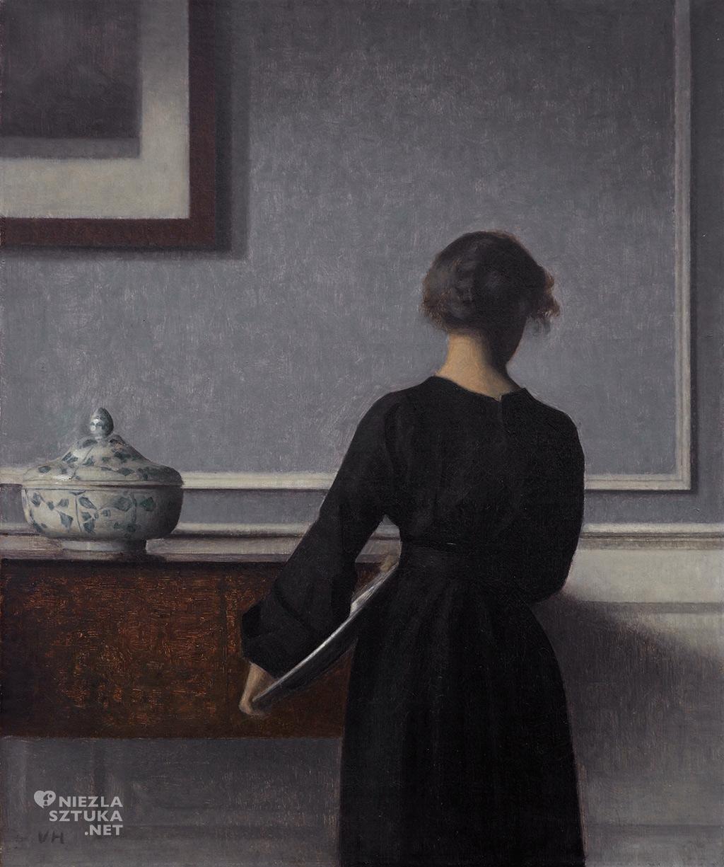 Vilhelm Hammershøi, Wnętrze z kobietą tyłem, 1904, Randers Kunstmuseum