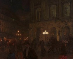 Aleksander Gierymski, Opera paryska w nocy, nokturn, Paryż, Muzeum Narodowe w Warszawie, polska sztuka, Niezła sztuka