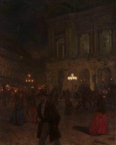 Aleksander Gierymski, Opera paryska w nocy, malarstwo polskie, sztuka polska, Niezła Sztuka