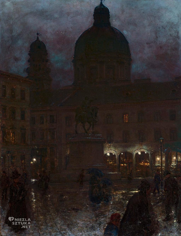 Aleksander Gierymski, Plac Wittelsbachów, Monachium, nokturn, Muzeum Narodowe w Warszawie, polska sztuka, Niezła sztuka