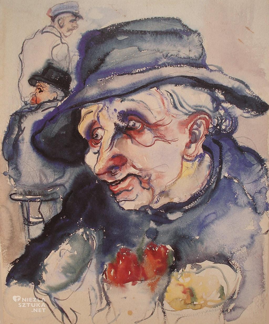 Elfriede Lohse-Wächtler Kobieta Staruszka z kwiatami