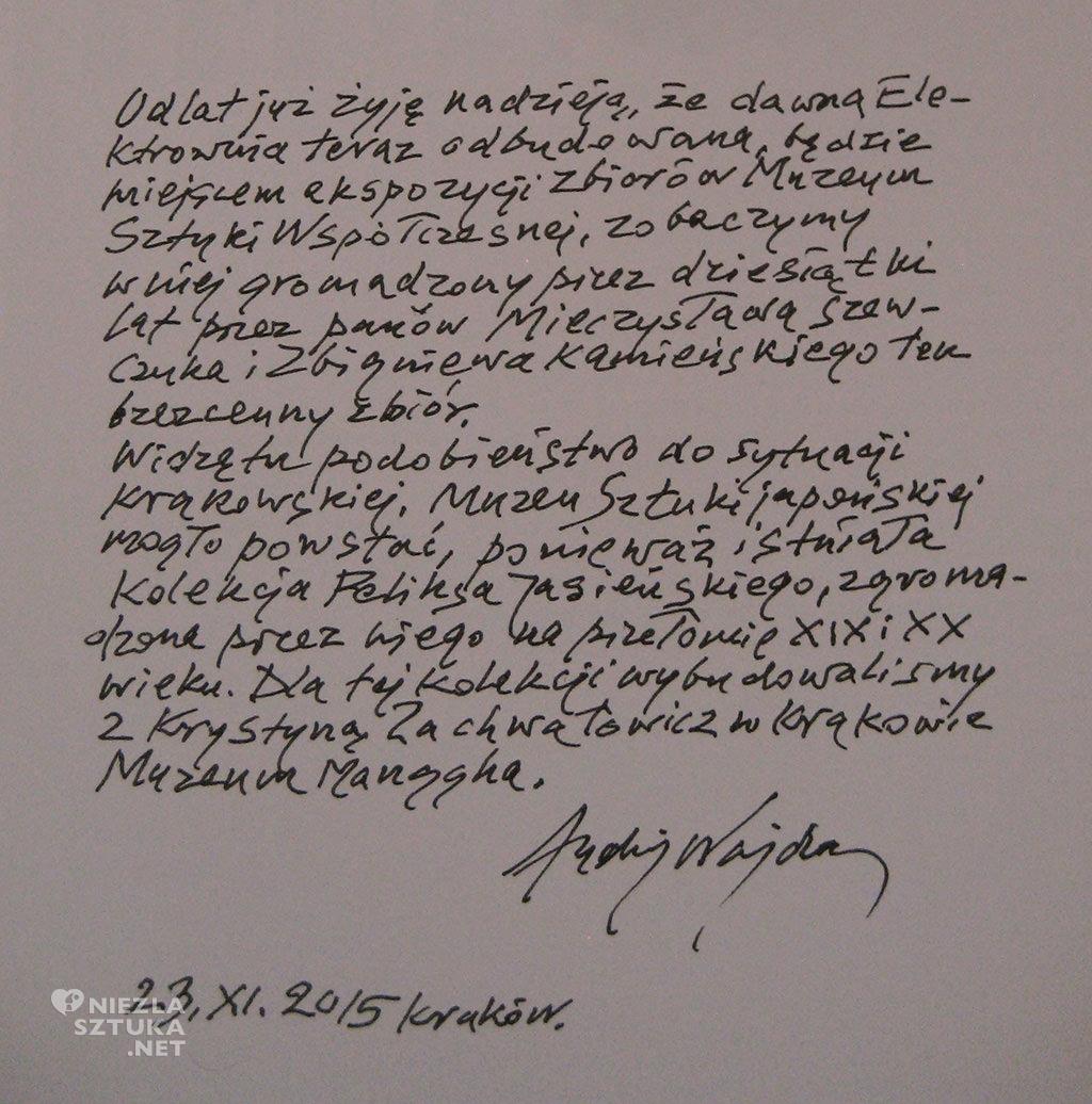 Andrzej Wajda notatka, źródło: M. Szewczuk Żyć sztuką. Kolekcja sztuki współczesnej Muzeum im. Jacka Malczewskiego w Radomiu Radom 2016.