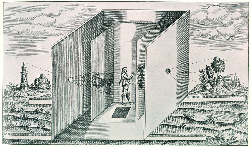Athanasius Kircher, Camera Obscura z Ars Magna, Amsterdam, 1671.