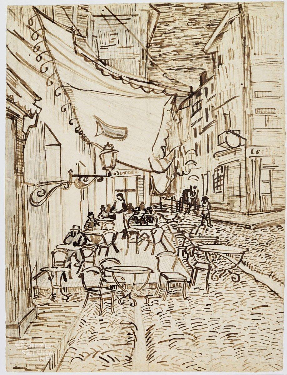 Vincent van Gogh, Taras kawiarni w nocy, rysunek, szkic, Arles, Niezła Sztuka