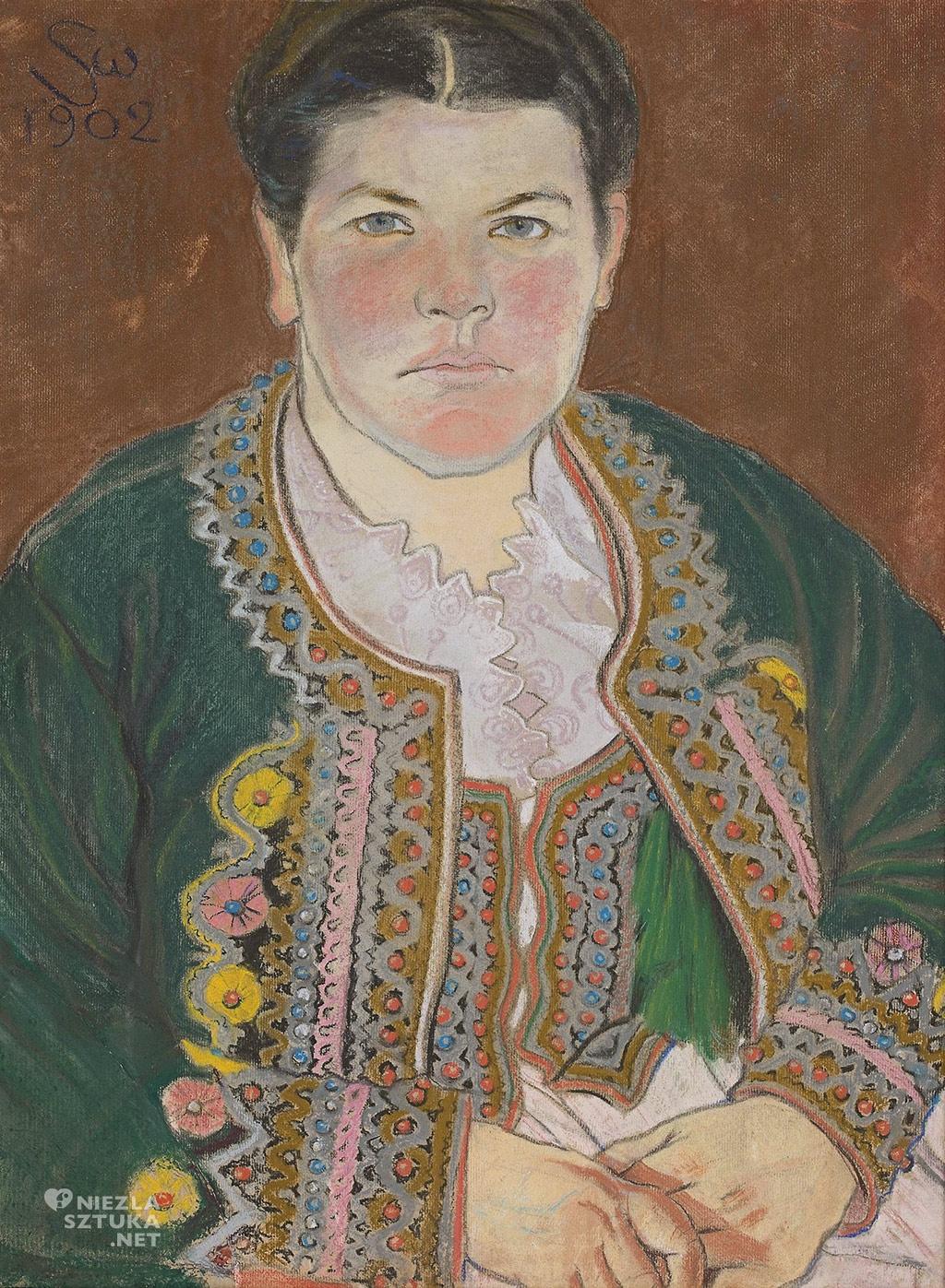 Stanisław Wyspiański, Teofila Pytko, Teodora Pytko, Portret żony w serdaku, 1902, Muzeum Narodowe w Warszawie, Niezła sztuka