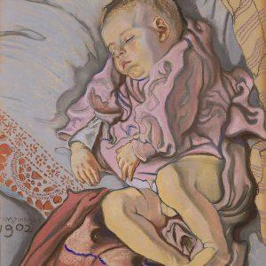 Stanisław Wyspiański, Śpiące dziecko w poduszce, Śpiący Staś, syn Wyspiańskiego, Staś Wyspiański, dziecko w malarstwie, polska sztuka, Niezła sztuka