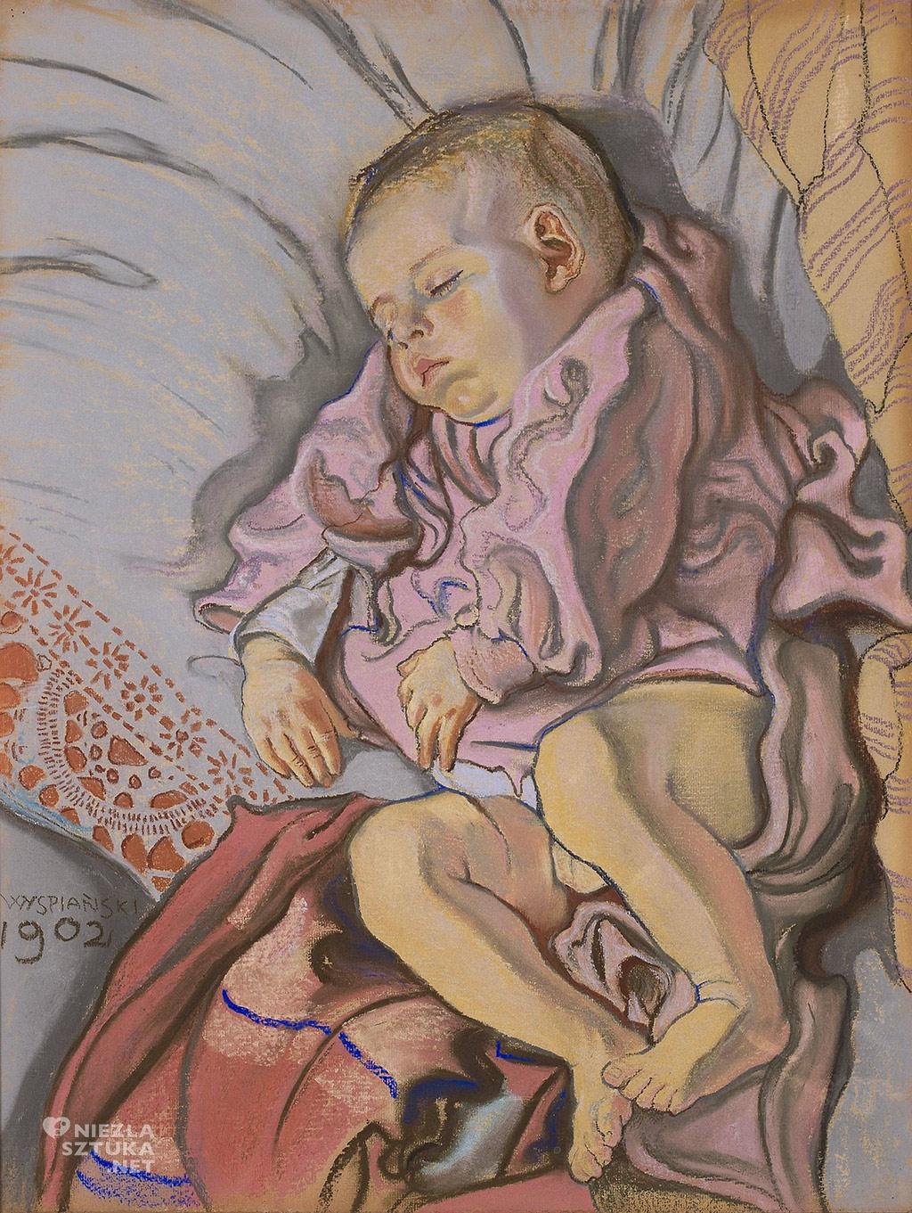 Stanisław Wyspiański, Śpiące dziecko w poduszce Śpiący Staś