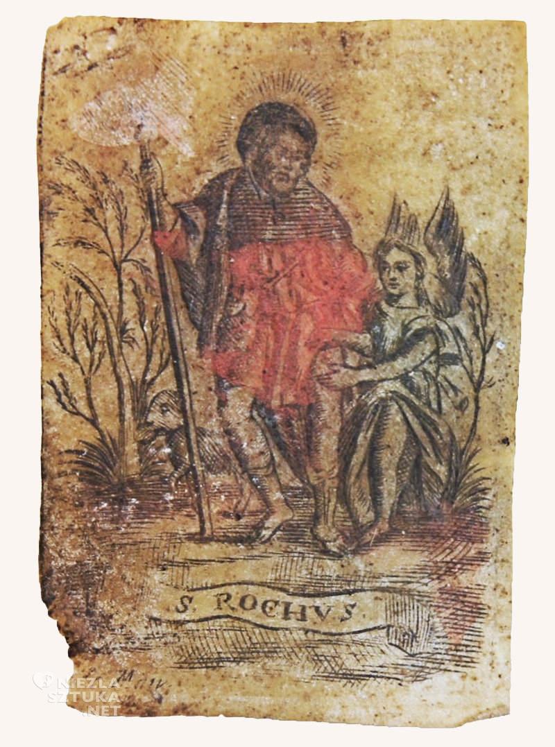 Św. Roch z psem i aniołem obrazek dewocyjny
