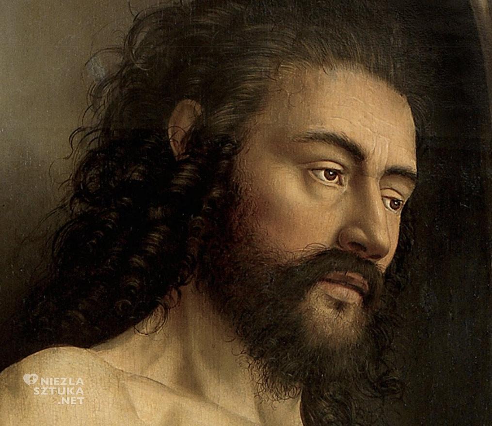 Adam // Hubert i Jana van Eyck Ołtarz Gandawski, poliptyk tablicowy, 350 × 500 cm, Katedra Świętego Bawona, Gandawa