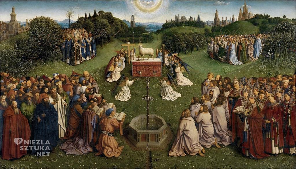 Adoracja Baranka // Hubert i Jana van Eyck <em>Ołtarz Gandawski</em>, poliptyk tablicowy, 350 × 500 cm, Katedra Świętego Bawona, Gandawa