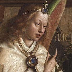 Anioł, Zwiastowanie – Hubert i Jana van Eyck Ołtarz Gandawski (Adoracja Mistycznego Baranka), poliptyk tablicowy, 350 × 500 cm, Katedra Świętego Bawona, Gandawa