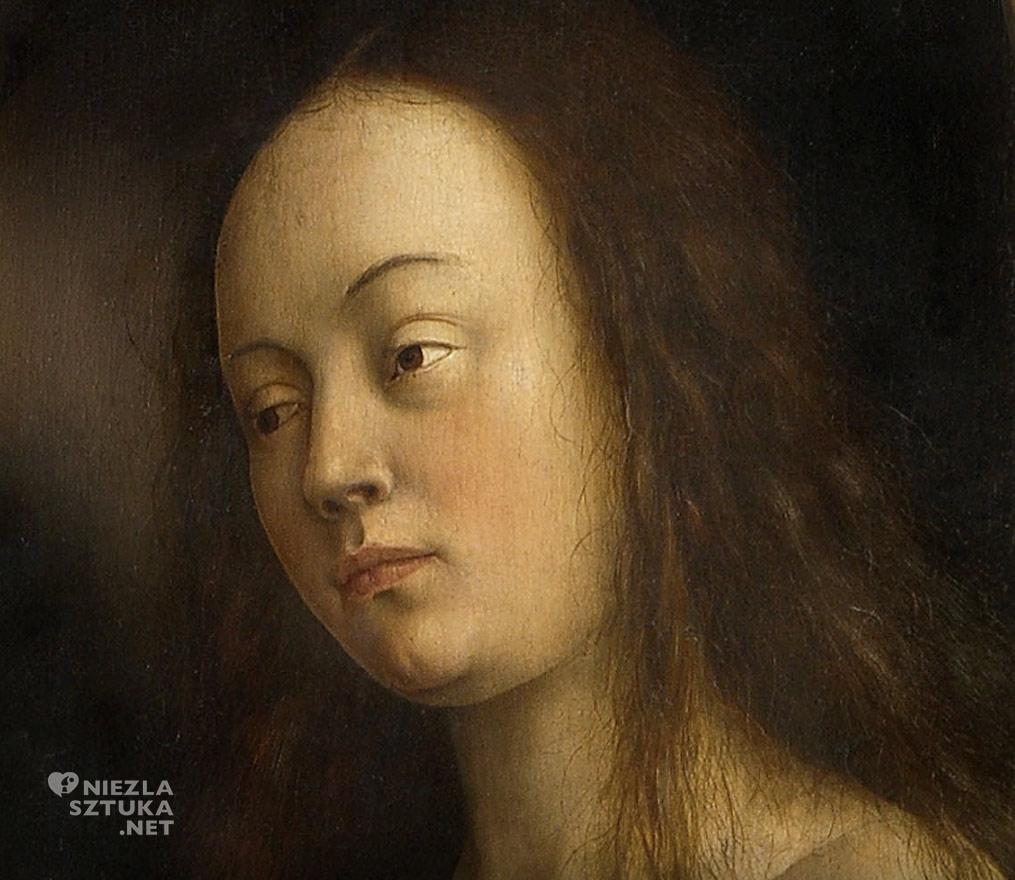 Ewa // Hubert i Jana van Eyck Ołtarz Gandawski, poliptyk tablicowy, 350 × 500 cm, Katedra Świętego Bawona, Gandawa