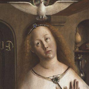 Maria, Zwiastowanie – Hubert i Jana van Eyck Ołtarz Gandawski (Adoracja Mistycznego Baranka), poliptyk tablicowy, 350 × 500 cm, Katedra Świętego Bawona, Gandawa