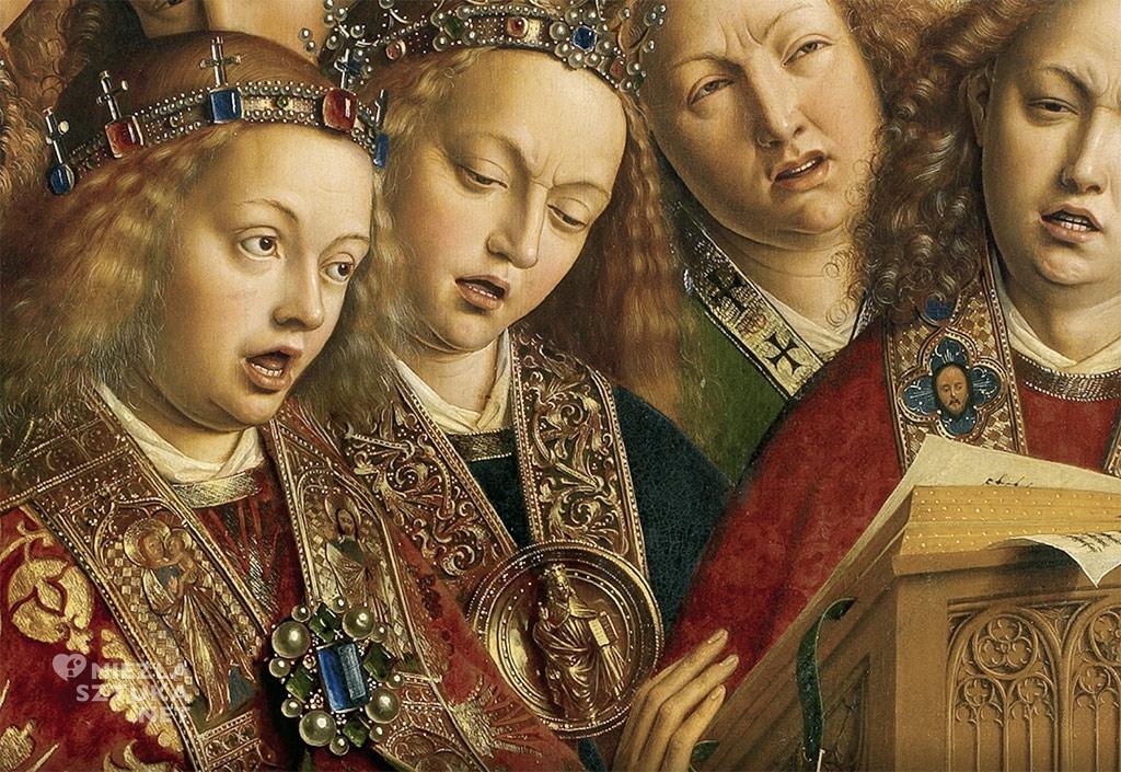 Muzykujące anioły // Hubert i Jana van Eyck <em>Ołtarz Gandawski</em>, poliptyk tablicowy, 350 × 500 cm, Katedra Świętego Bawona, Gandawa