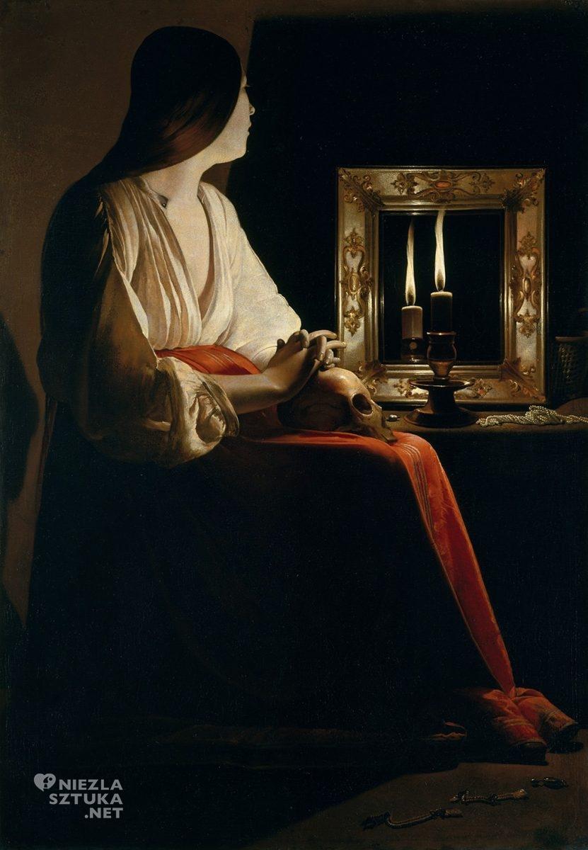 Georges de La Tour, Pokutująca Maria Magdalena, barok, Francja, malarstwo religijne, Niezła Sztuka