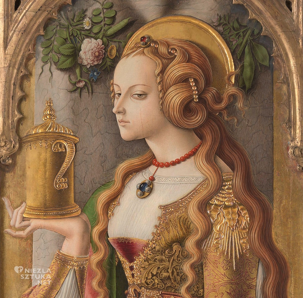 Carlo Crivelli, Maria Magdalena, detal | ok. 1480, Rijksmuseum