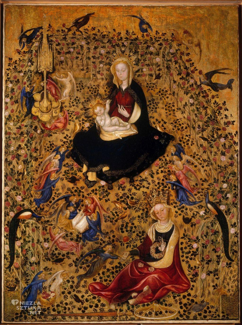 Obraz przypisywany Michelino da Besozzo Madonna w ogrodzie różanym | ok. 1435, Castelvecchio Museum, Werona