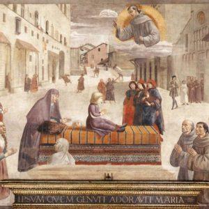 Domenico Ghirlandaio Św. Franciszek wskrzeszający dziecko | ok. 1485, fresk z kościoła Św. Trójcy we Florencji