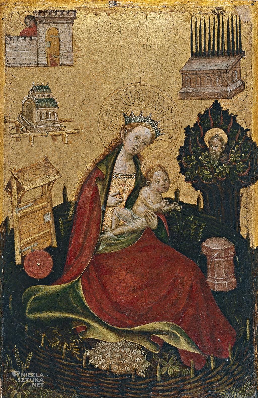 Autor nieznany Madonna z Dzieciątkiem w ogrodzie zamkniętym (Hosrtus Conclusus)   ok. 1410, Museo Thyssen-Bornemisza, Madryt