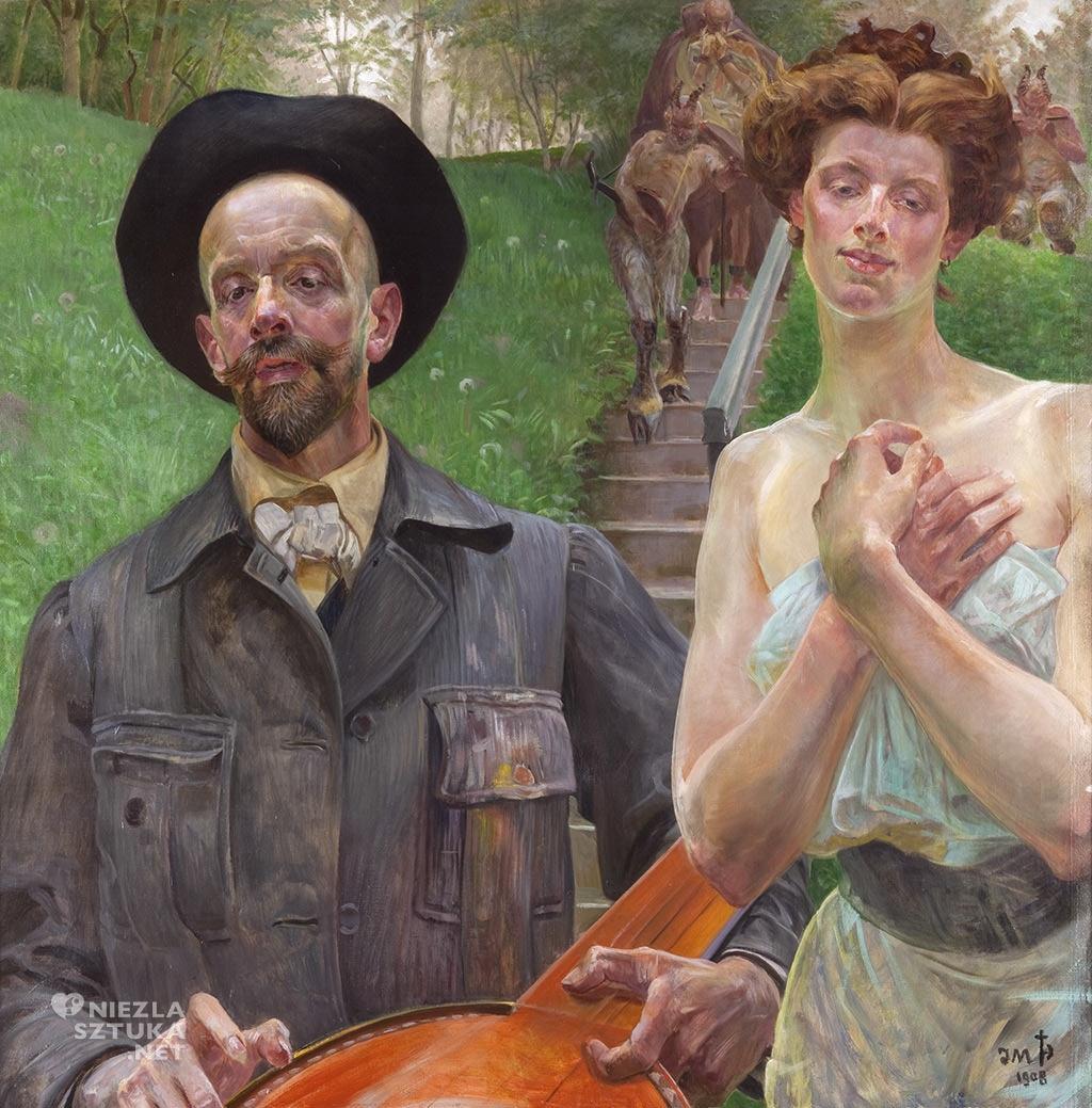 Jacek Malczewski, Autoportret z muzą, 1908, wł. Muzeum im. Jacka Malczewskiego w Radomiu