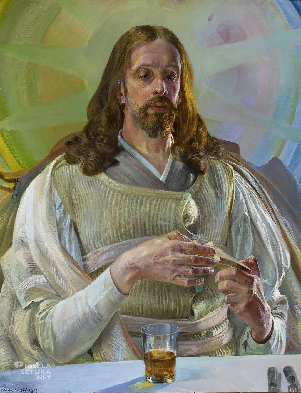 Jacek Malczewski <em>Chrystus w Emmaus - środkowa częśc tryptyku</em>, 1909, olej, tekstura, 93 x 73, Muzeum Narodowe w Warszawie