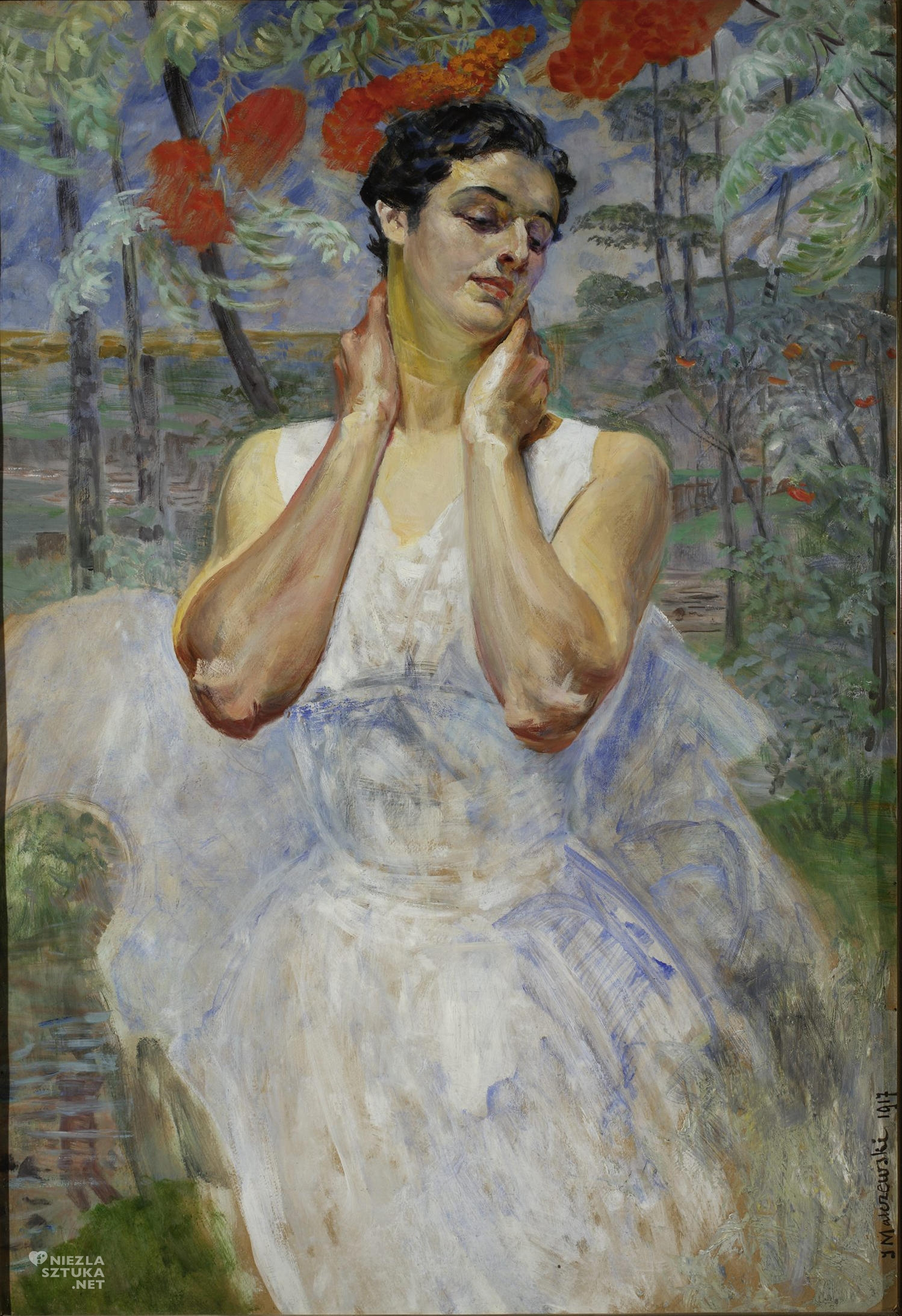 Jacek Malczewski, Portret kobiety na tle jarzębiny; 1917; olej; tektura; 100 x 68,5