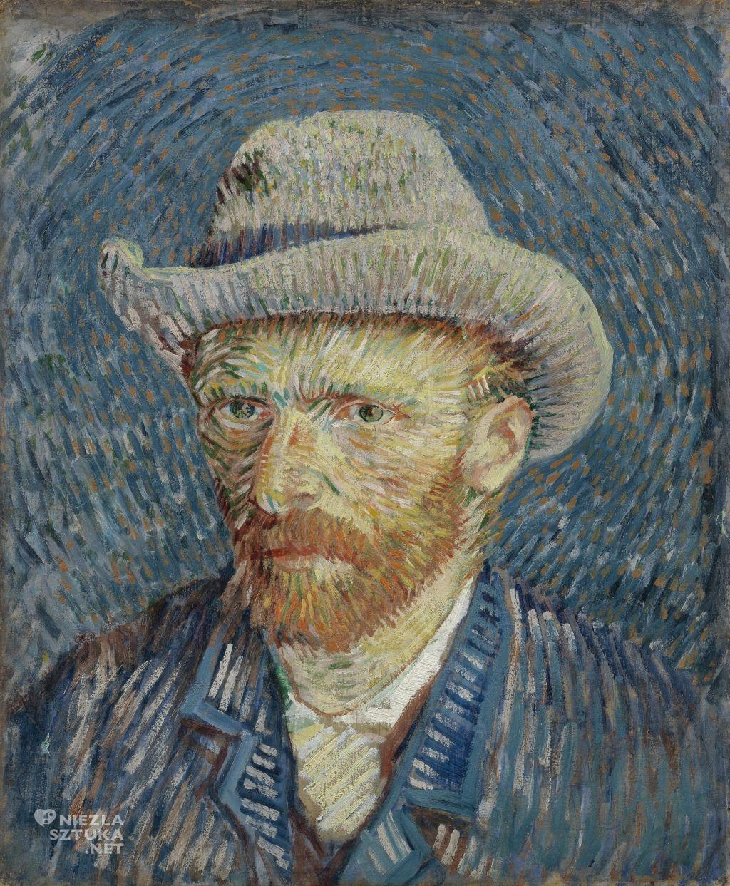 Vincent van Gogh, autoportret, autoportret w szarym, filcowym kapeluszu, Niezła Sztuka