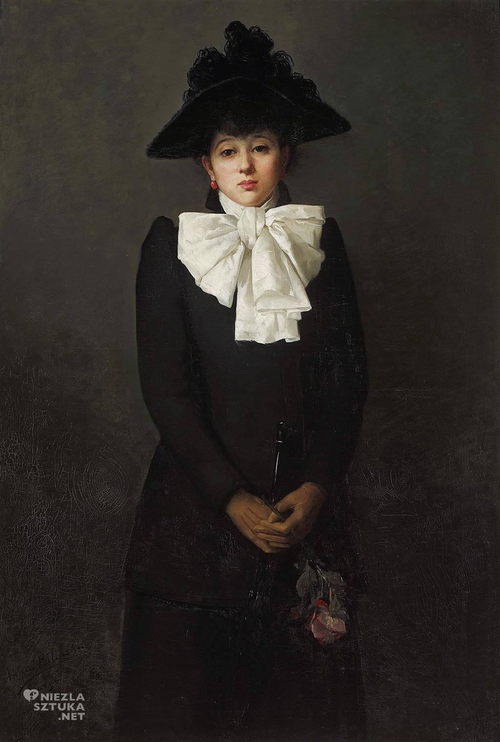 Anna Bilińska Portret młodej kobiety z różą w ręku