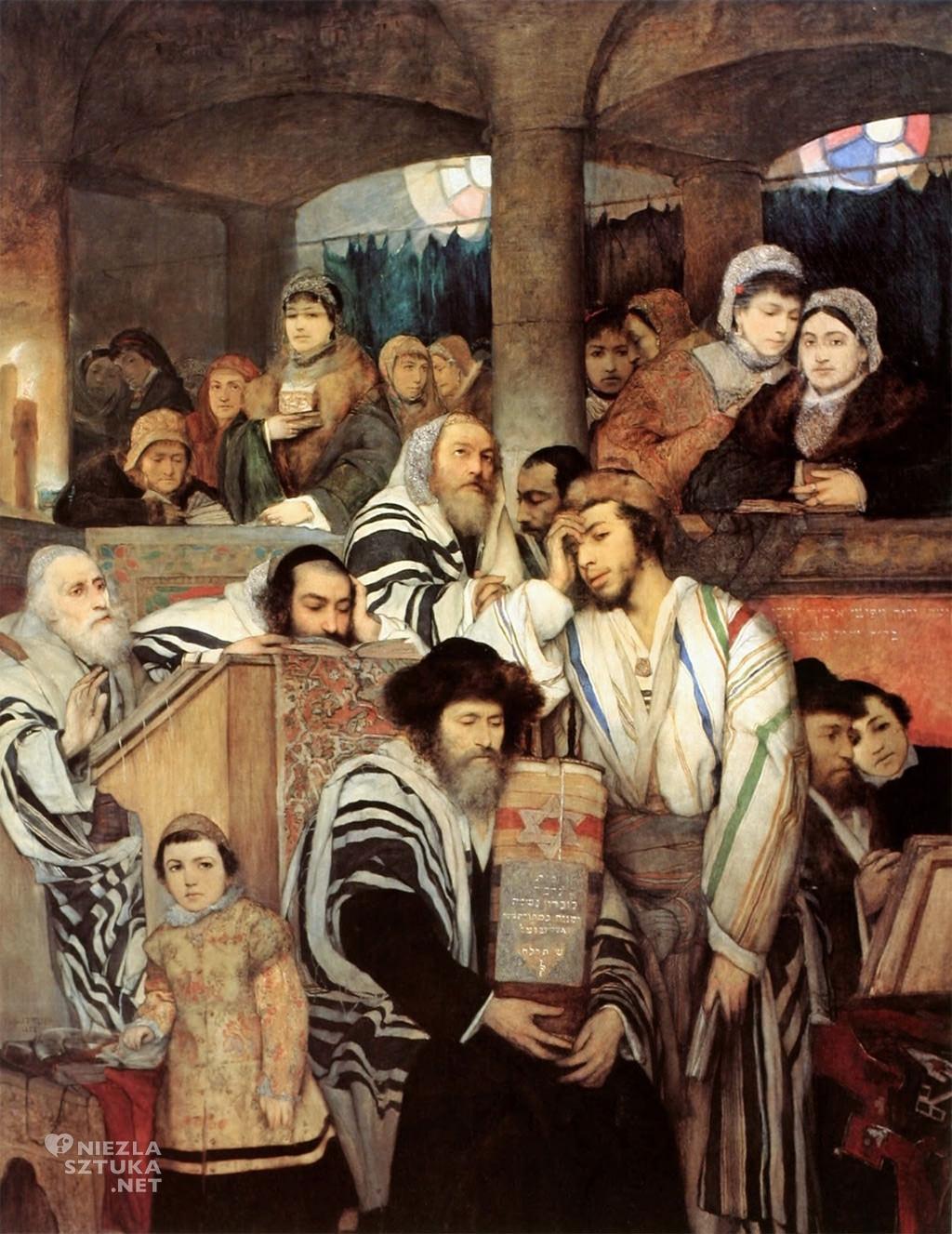 Maurycy Gottlieb Żydzi modlący się w synagodze