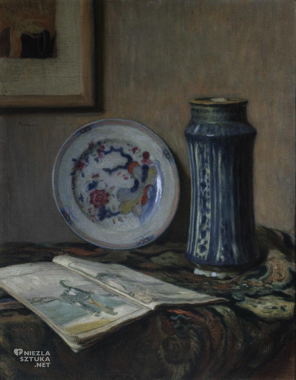 Józef Pankiewicz, Martwa natura z ceramiką, Martwa natura z błękitnym wazonem, sztuka polska, Niezła sztuka