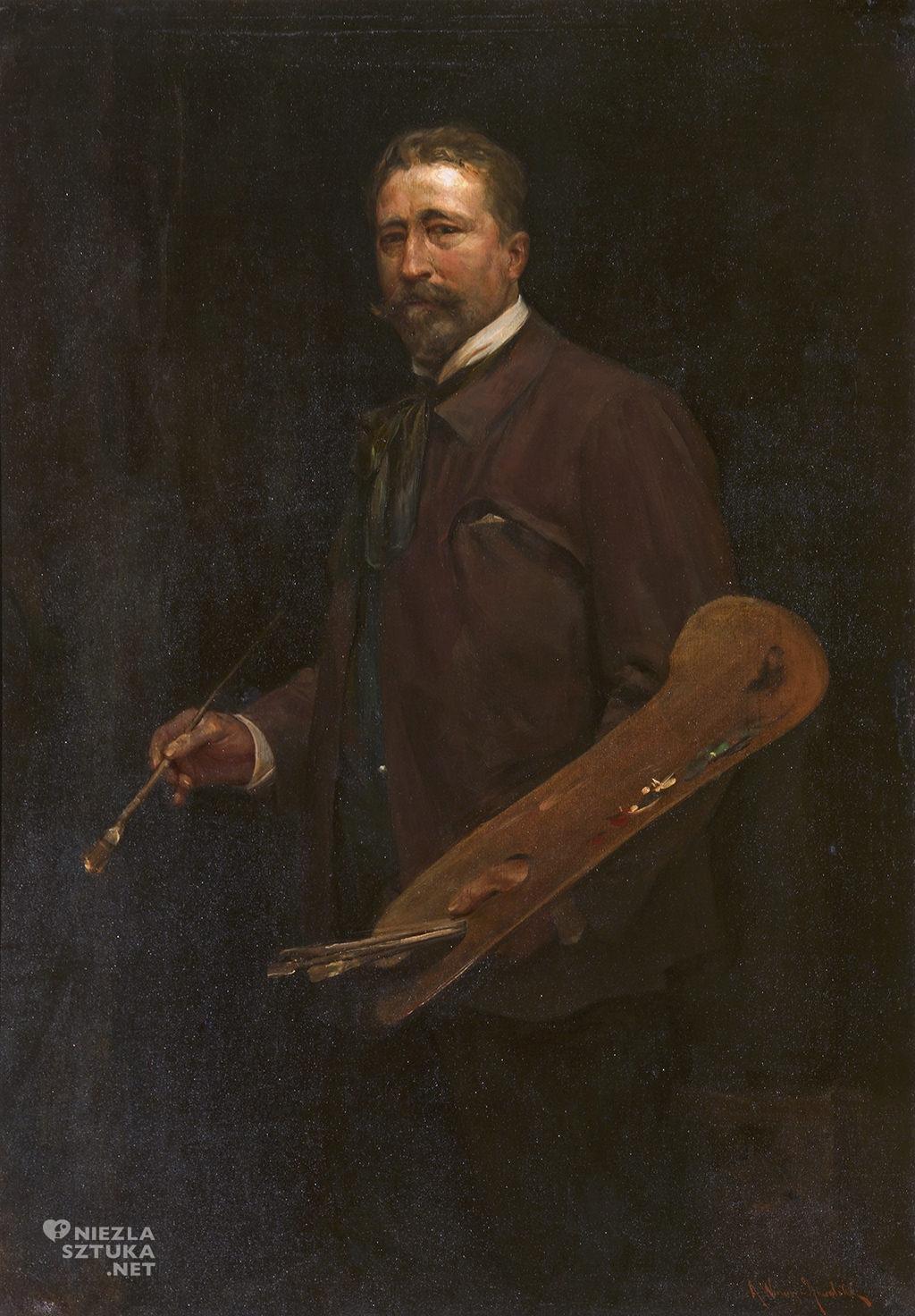 Alfred Wierusz-Kowalski Autoportret z paletą