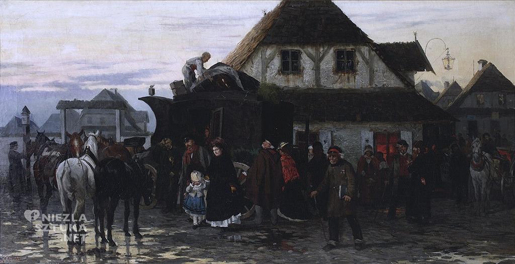 Alfred Wierusz-Kowalski Przyjazd karetki pocztowej do miasteczka