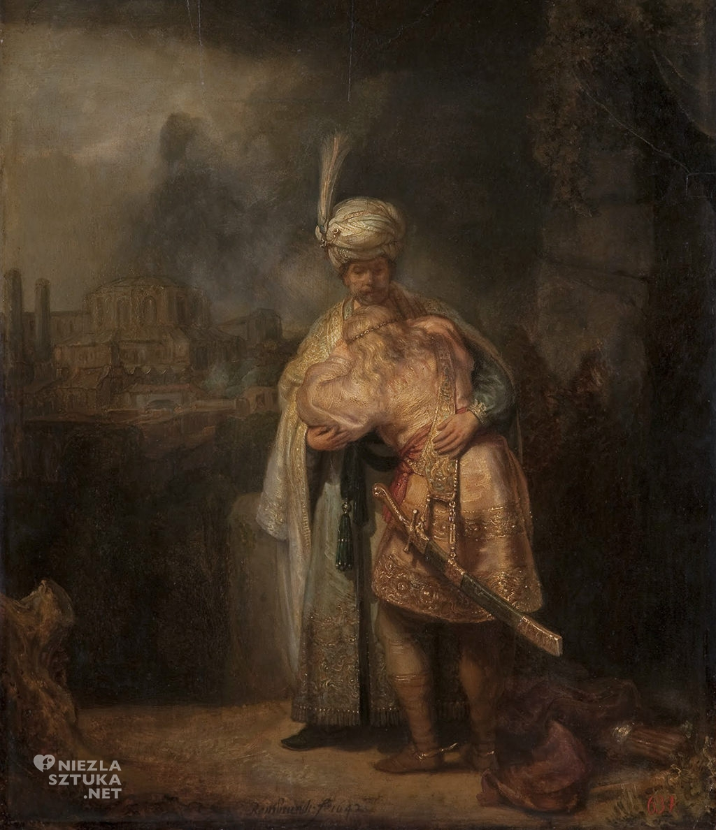 rembrandt-Pozegananie-Dawida-z-Jonatanem