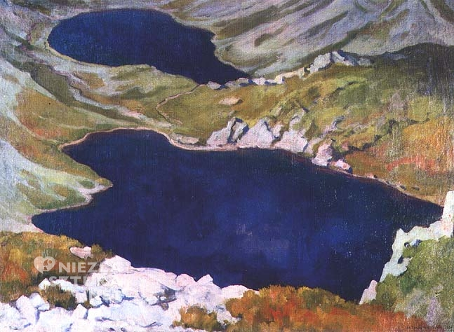 Stanisław Ignacy Witkiewicz <em> Hińczowe Stawy</em>, olej, płótno, 94,5 x 68 cm