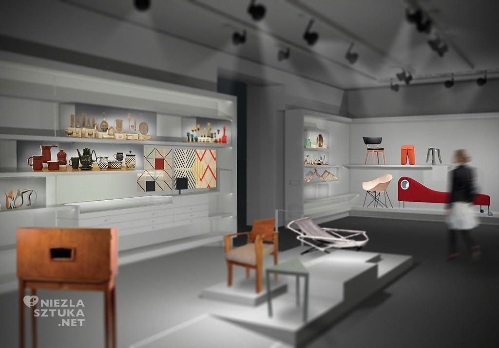 Galeria Wzornictwa Polskiego w Muzeum Narodowym w Warszawie, wizualizacja. Koncepcja aranżacji: Matosek/Niezgoda, fot. materiały prasowe
