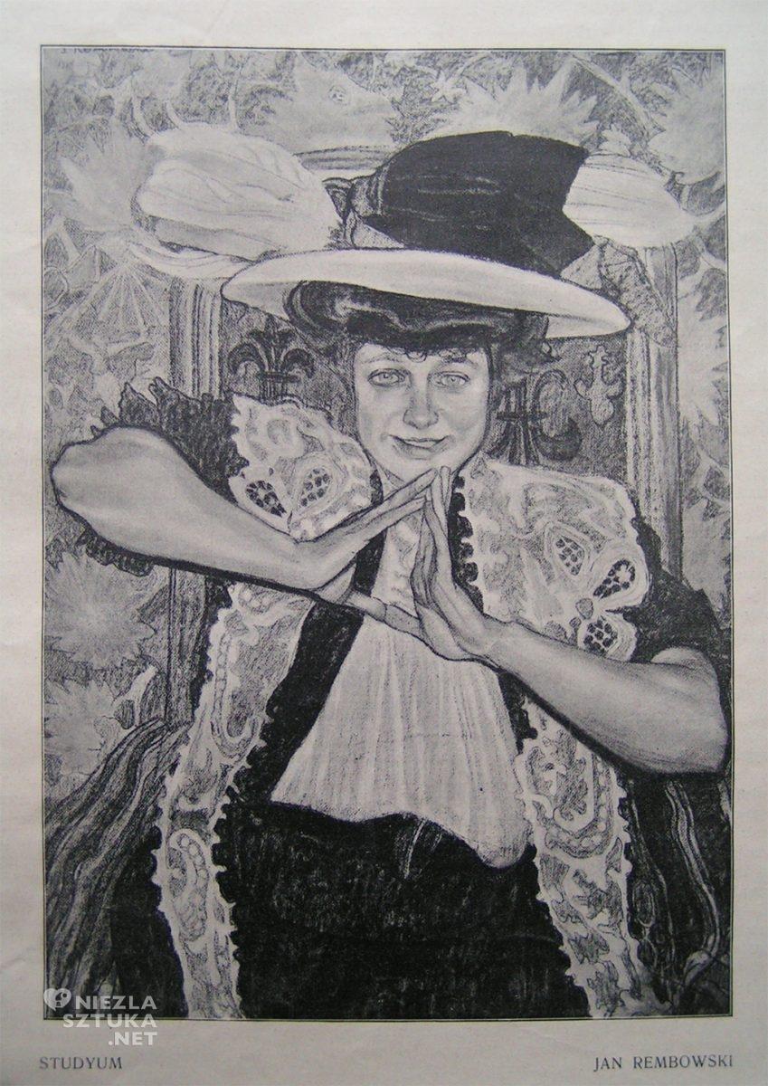 """Jan Rembowski Portret damy (Aliny Bondy-Glassowej), węgiel   ok. 1907, repr. """"Tygodnik Ilustrowany"""" 1909, nr 10, s. 183"""