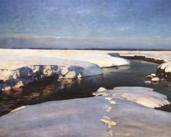 Julian Fałat, Śnieg, malarstwo polskie, sztuka polska, Niezła Sztuka