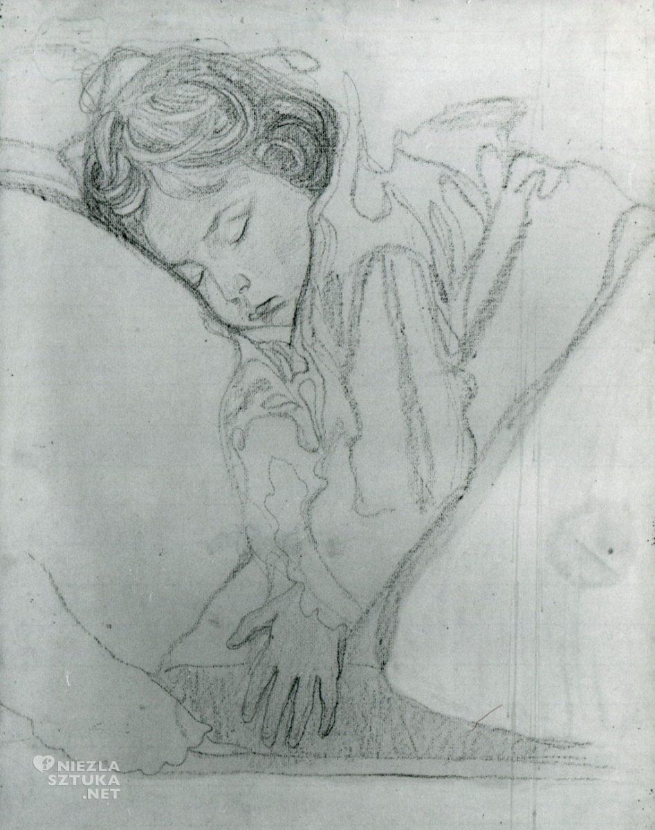 Jan Rembowski Śpiąca dziewczynka (córka artysty Nuna), kredka, ok. 1908, Muzeum Narodowe w Warszawie